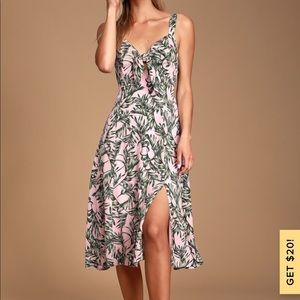 Palm Leaf Midi Dress NWT